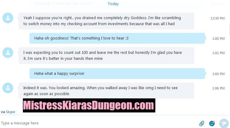 Financial Domination Mistress Kiara rinsing draining pay pig