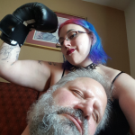 fetish boxing Mistress knocked out slave boxing gloves flex