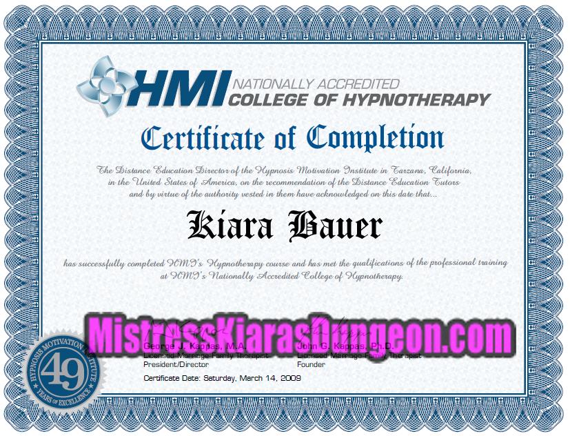 Hypnosis Certified Mistress femdom hypnotist